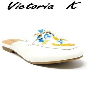 Women Slip-on Mules Slippers, HK-7084, White